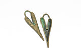 "5 HEART Charm Pendants, hammered bronze metal with green verdigris patina, stylized elongated heart, 60x18mm, 2-3/8"" long chb0527"