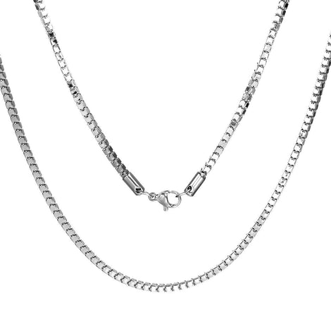 "1 STAINLESS STEEL Box Chain Necklace with Lobster Clasp, 20"" long 2.5mm links, fch0557"