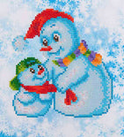 "Rhinestone Painting Kit, SNOW FAMILY Snowman, Diamond Dotz Diamond Embroidery, Diamond Facet Art, Bling Wall Art, 9""x9.8"" canvas kit0057"