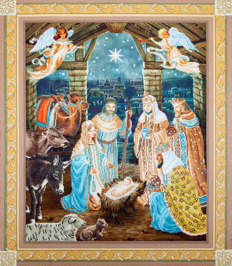 "Rhinestone Painting Kit, NATIVITY SCENE, Diamond Dotz Diamond Embroidery, Diamond Facet Art Kit, Bling Wall Art, 40""x34"" canvas kit0061"