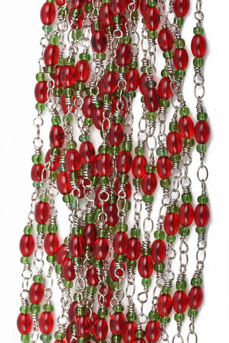 1 yard (3 feet) RED and GREEN Glass Rosary Bead Chain, silver double wrapped wire, 6mm oval glass beads, fch0581a