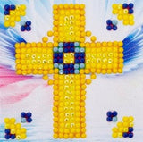 "Rhinestone Painting Kit, GOLDEN CROSS, Diamond Dotz 3x3"" canvas kit0073"