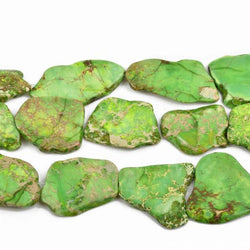 "Aqua Terra Jasper Slab Gemstone Beads, GREEN, about 1-1/8"" to 1-3/4"" full strand, about 10-14 beads depending on size, gja0144"