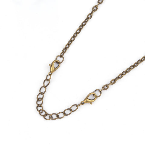 "10 Necklace Extension Chains, about 3"" long bronze tone metal, curb link extender chain, lobster clasps on each end,  fcl0221"