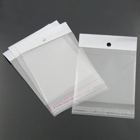 "100 Resealable Self-Sealing Bags with Hang Tags, usable space 9x7cm, (3-1/2 x 2-3/4"") bulk cello bags, cellophane jewelry bags, bag0032"