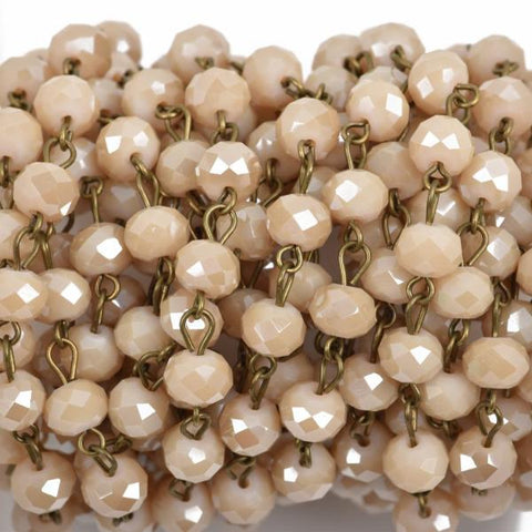 1 yard (3 feet) IVORY CREAM Crystal Rondelle Rosary Chain, bronze wire, 8mm faceted rondelle glass beads, fch0562a