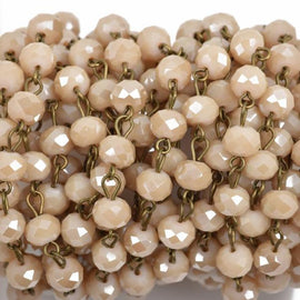 13 feet IVORY CREAM Crystal Rondelle Rosary Chain, bronze wire, 8mm faceted rondelle glass beads, fch0562b