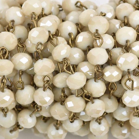 3 feet (1 yard) IVORY Off White Crystal Rondelle Rosary Chain, bronze wire, 8mm faceted rondelle glass beads, fch0586a