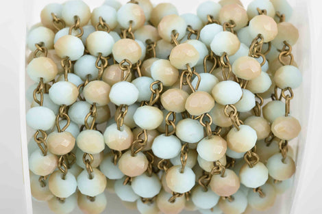 1 yard (3 feet) Pale Blue and Tan Crystal Rosary Chain, bronze wire, 8mm matte rondelle faceted crystal beads, fch0589a