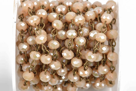 1 yard (3 feet) IVORY CREAM Crystal Rondelle Rosary Chain, bronze wire, 6mm faceted rondelle glass beads, fch0592a