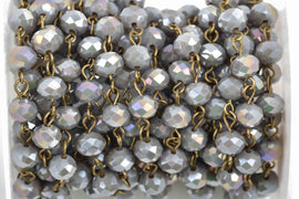 1 yard (3 feet) HEATHER GREY AB Crystal Rondelle Rosary Chain, bronze, 8mm faceted rondelle glass beads, fch0593a