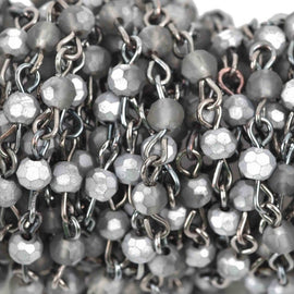 3 feet (1 yard) Matte SILVER SMOKE Crystal Rosary Chain, gunmetal links, 4mm round faceted frosted half-plated crystal bead chain, fch0600a