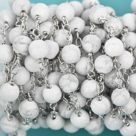 13 feet Matte WHITE HOWLITE GEMSTONE Rosary Chain, double wrap silver links, 8mm round natural gemstone beads, fch0609b