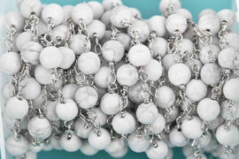 13 feet (4.33 yards) WHITE HOWLITE GEMSTONE Rosary Chain, double wrap silver links, 6mm round natural gemstone beads, fch0601b