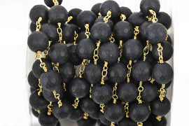 3.67 yards (11 feet) BLACK ONYX MATTE Rosary Chain, bright gold links, 10mm round faceted gemstone beads, fch0602b