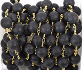 1 yard BLACK ONYX MATTE Rosary Chain, bright gold links, 10mm round faceted gemstone beads, fch0602a