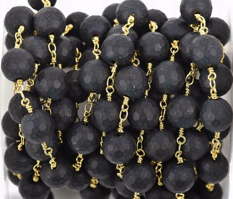 1 yard (3 feet) BLACK ONYX MATTE Rosary Chain, bright gold links, 10mm round faceted gemstone beads, fch0602a