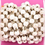 13 feet WHITE Howlite Rosary Chain, bronze links, 8mm round stone beads, fch0613b