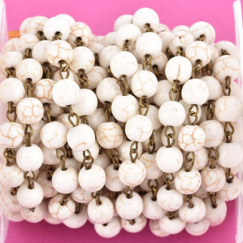 13 feet (4.33 yards) WHITE Howlite Rosary Chain, bronze links, 8mm round stone beads, fch0613b