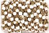 13 feet (4.33 yards) WHITE Howlite Rosary Chain, bronze links, 4mm round stone beads, fch0615b
