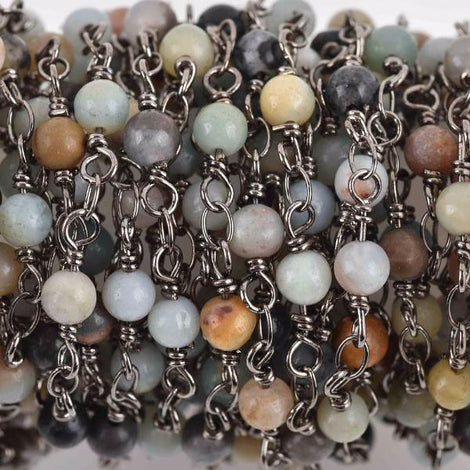 13 feet AMAZONITE GEMSTONE Rosary Chain, gunmetal, 4mm round gemstone beads, fch0617b
