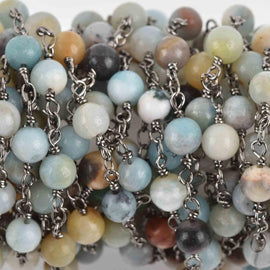 13 feet (4 meters) AMAZONITE GEMSTONE Rosary Chain, gunmetal, 6mm round gemstone beads, fch0619