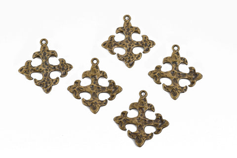 5 Bronze Ox Cross Fleury Relic Charms, Fleur de Lis Cross, Hammered Plated Metal, double sided design, 30x28mm, chs2962