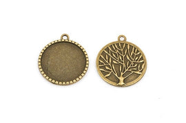 "5 Large Bronze TREE OF Life Charm Pendants, Cabochon Bezel Tray, fits 25mm (1"") round cabs chb0363"