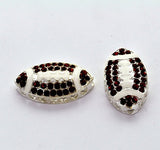 1 Rhinestone Bright Silver and Enamel BROWN FOOTBALL Sideways Connector Charm . Chs0415