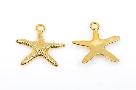 "10 Gold STARFISH Charm Pendants  19mm, 3/4"" wide  chg0283"