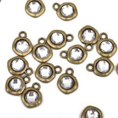 10 Bronze Rhinestone Drop Charms, 10mm asymmetrical circle with faceted rhinestone embedded in center, chb0463a