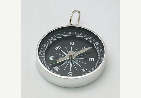 "1 Large COMPASS Charm Pendant, Stainless Steel Metal Bezel  1-3/4"" diameter chs0450"