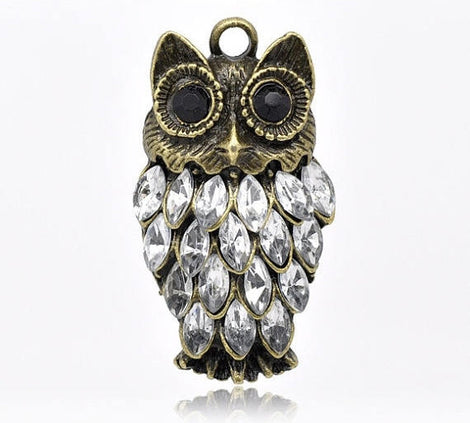 1 Large Antique Bronze Metal Rhinestone OWL Charm Pendant CHB0187