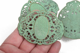 "2 Large Bronze Filigree Cuff Bracelet Findings, Green Verdigris Patina, Sideways Curved Connector Links, 67x51mm, (2-5/8"" long) chb0514"