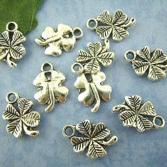 10 Antique Silver LUCKY 4-LEAF Clover Pendant Charms  15mm x 11mm . chs0753