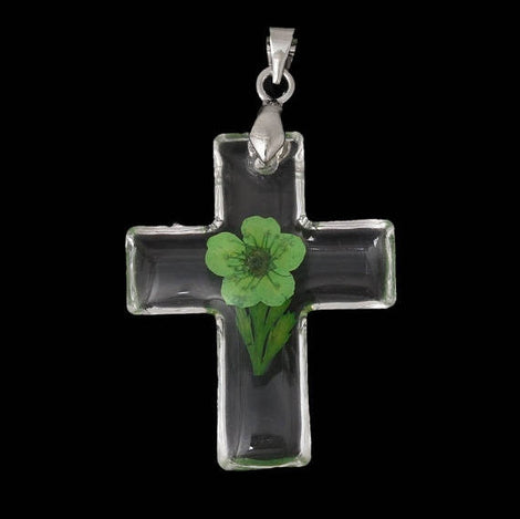 2 Acrylic Pendants, Natural REAL FLOWERS, Green with leaves, cross shape, silver bail, cha0151