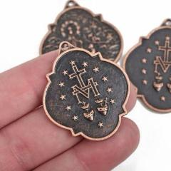 4 Copper Relic Charm Pendants, religious medal coin charms, copper plated metal, double sided design, 40x34mm, chc0079