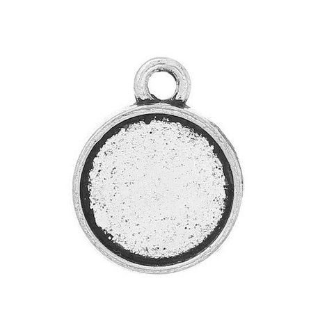 10 Bezel TRAY Charm Pendants for Resin, Cabochons, Silver Tone Metal tray fits 10mm chs1984a