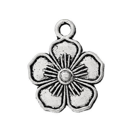10 Antique Silver 5-PETAL FLOWER Charm Pendants  chs1435