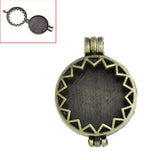 1 Bronze Metal Open Face LOCKET Charm Pendants chb0009