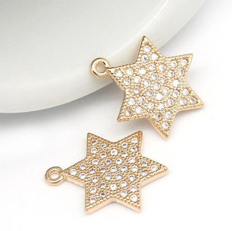 1 Rose Gold STAR OF David Charm Pendant, Micro Pave Cubic Zirconia Rhinestones, Hexagon Star, Judaica Charms, minimalist, 17x13mm, cho0161