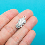 10 Antique Silver SPORTS RUNNING Shoes Soccer Cleats Pendant Charms . chs0358