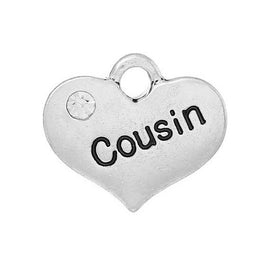 "1 Antique Silver Rhinestone ""COUSIN"" Heart Charm Pendant 16x14mm  chs1540A"