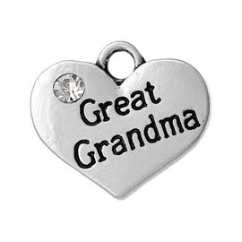 "1 Antique Silver Rhinestone ""Great Grandma"" Heart Charm Pendant 16x14mm  chs1424a"