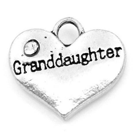 "1 Silver Tone Rhinestone "" Granddaughter "" Heart Charm Pendant 16x14mm (5/8""x1/2"")  chs0994a"