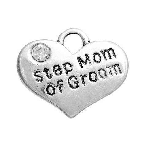 "1 Silver Tone Rhinestone "" Step Mom of Groom "" Heart Charm Pendant 16x14mm chs2663"