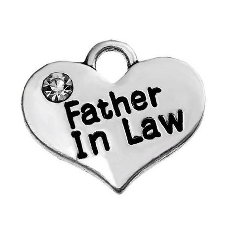 1 FATHER IN Law Heart Charm Pendant, Stamped Words on Both Sides, Clear Rhinestone, 16x14mm   chs2293