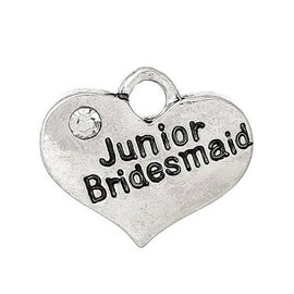 "1 Antique Silver Rhinestone ""Junior Bridesmaid"" Heart Charm Pendant 17x14mm  chs1611a"