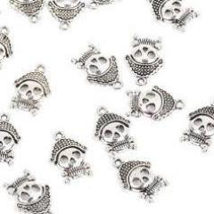 "10 PIRATE SKULL Charms, silver tone skeleton pendant, 3/4""  chs1697"