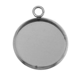 5 Stainless Steel Round Circle CABOCHON SETTING Bezel Frame Charm Pendants, Silver (fits 20mm cabs)  chs2709